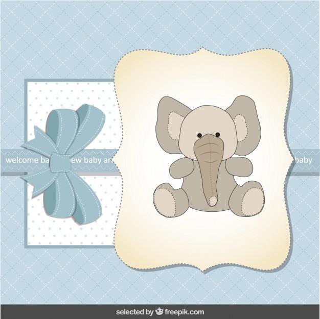 Blauwe baby shower kaart met schattige olifant