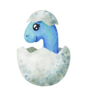 Blauwe babydinosaurus die uit een ei is uitgekomen