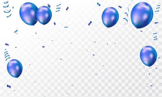 Blauwe ballonnen en confetti