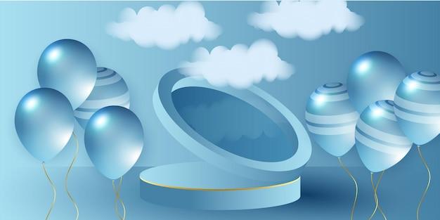 Blauwe ballonnen vectorillustratie viering achtergrond sjabloon viering banner met gouden confe...