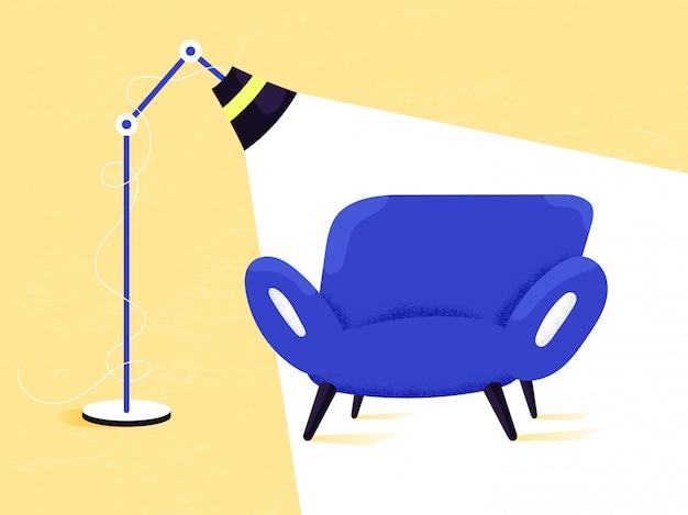 Blauwe bank bij koud licht van de vloerlamp als plek voor fotosessie of video-opname. interieurs en meubels. rustgevende huiselijke sfeer.