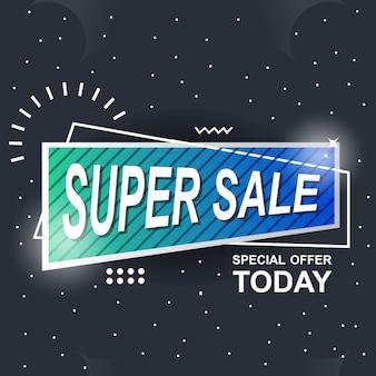 Blauwe banner achtergrond abstracte super verkoop