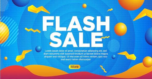 Blauwe banner flash verkoop achtergrond