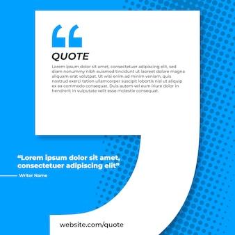 Blauwe banner met citaat