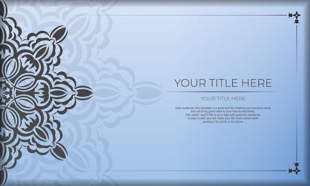 Blauwe banner met luxe zwarte ornamenten en plaats voor uw ontwerp. sjabloon voor ontwerp afdrukbare uitnodigingskaart met vintage patronen.