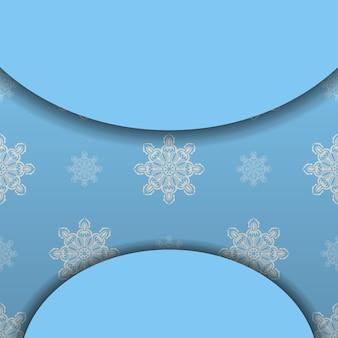 Blauwe banner met vintage wit ornament voor ontwerp onder uw logo