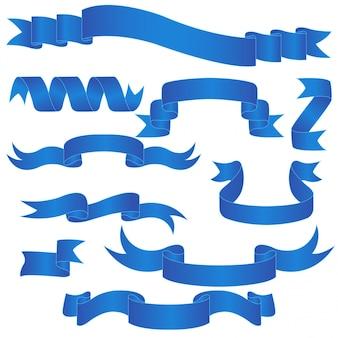 Blauwe banner set geïsoleerd op wit