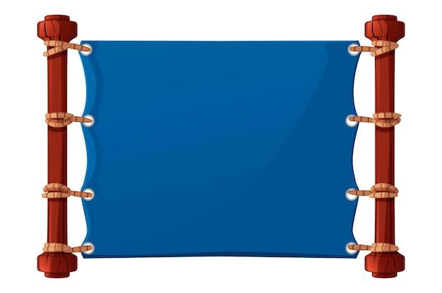 Blauwe banner voor het spel, stoffen lege sjabloon. illustratie van textiel lege poster met touwen voor gui.