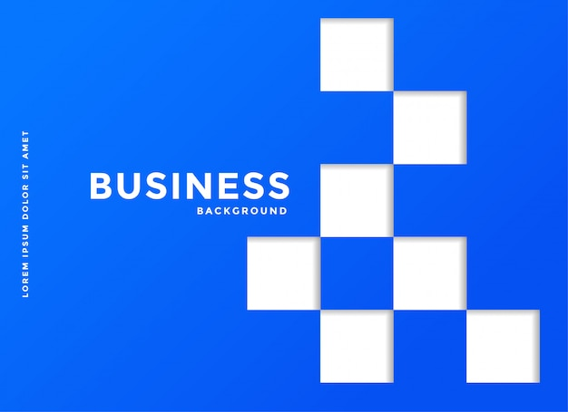 Blauwe bedrijfsachtergrond met witte vierkanten
