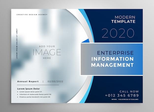 Blauwe bedrijfspresentatiesjabloon of brochure