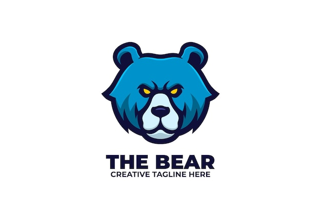 Blauwe beer mascotte karakter logo