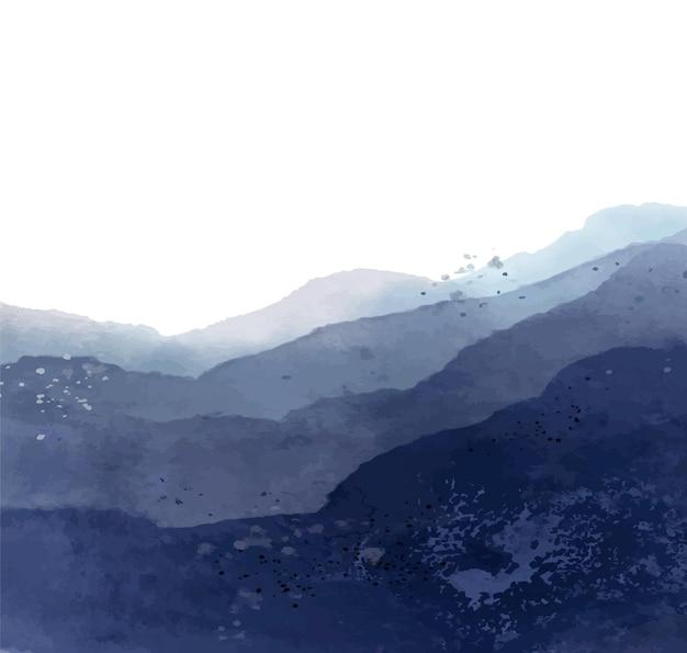 Blauwe bergen aquarel achtergrond