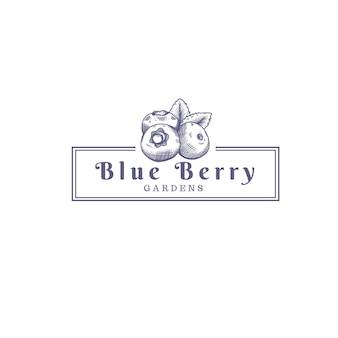 Blauwe bessen fruit boerderij winkel logo