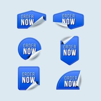 Blauwe bestel nu labels