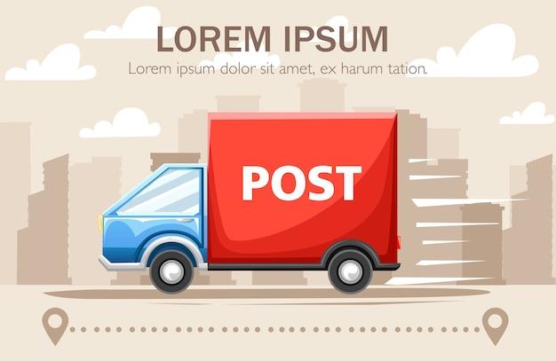 Blauwe bestelwagen met rode container met post-label.