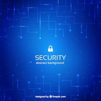 Blauwe beveiligingsachtergrond met circuits