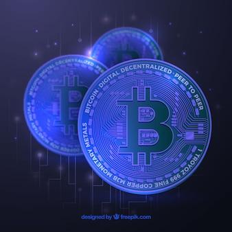 Blauwe bitcoin achtergrond