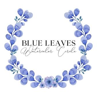 Blauwe bladeren aquarel illustratie cirkel