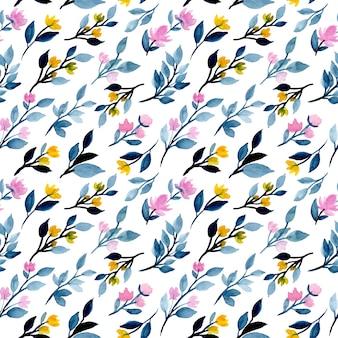 Blauwe bladeren aquarel naadloze patroon