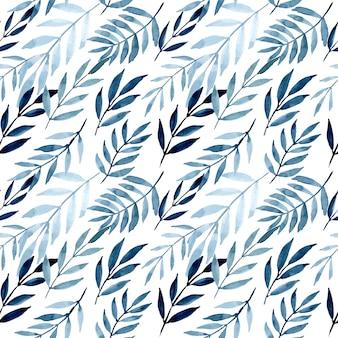 Blauwe bladeren met aquarel naadloze patroon