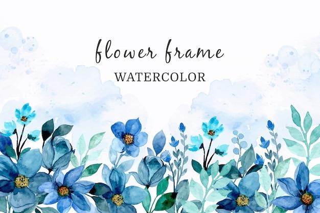 Blauwe bloem aquarel abstracte achtergrond
