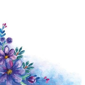 Blauwe bloem hoekige boeketten met aquarel achtergrond