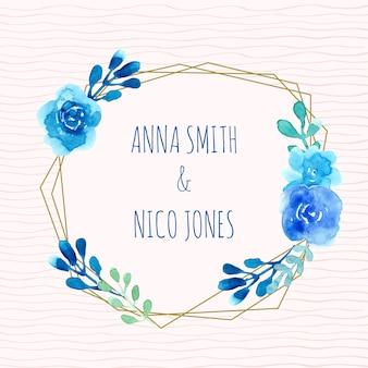 Blauwe bloem krans aquarel frame
