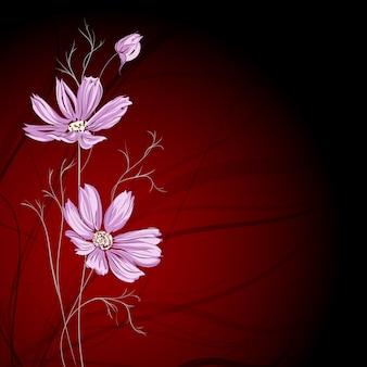 Blauwe bloem over bruine achtergrond