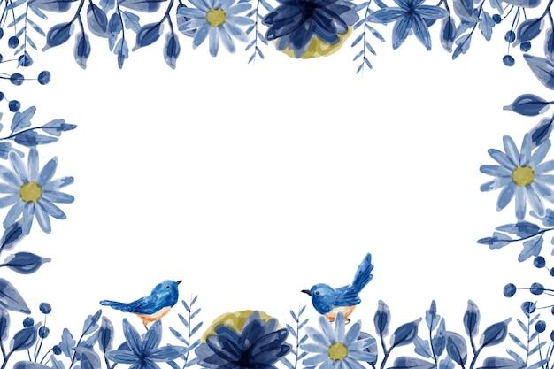 Blauwe bloemachtergrond met waterverf
