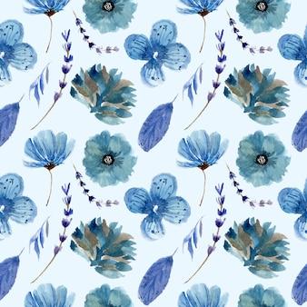 Blauwe bloemen aquarel monsters patroon