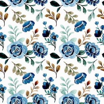 Blauwe bloemen aquarel naadloze patroon