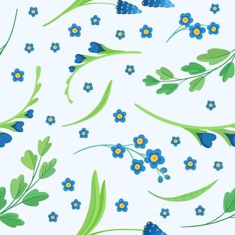 Blauwe bloemen bloeien naadloze patroon
