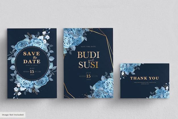 Blauwe bloemen bruiloft kaartenset