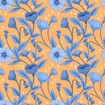 Blauwe bloemen en blad op geel naadloos patroon.