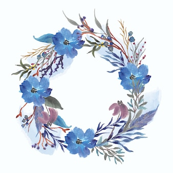 Blauwe bloemen en splash aquarel krans