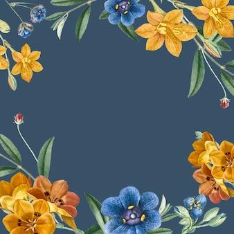 Blauwe bloemen frame achtergrond
