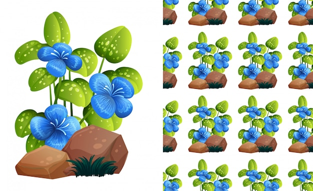 Blauwe bloemen op tonenpatroon