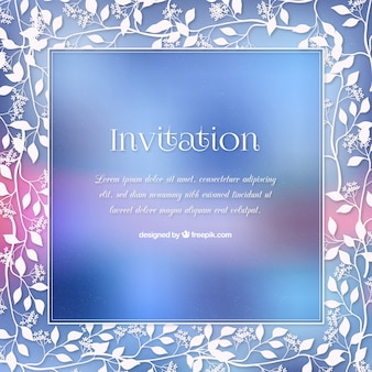 Blauwe bloemen uitnodiging