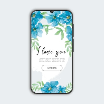 Blauwe bloemenbanner met smarthphone