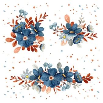 Blauwe bloemenboeketcollectie met aquarel
