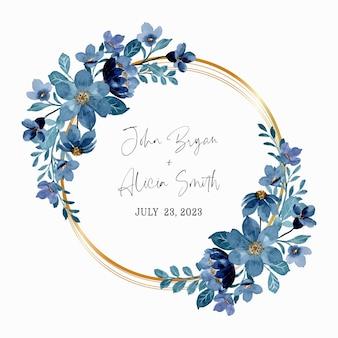 Blauwe bloemenkrans met waterverf