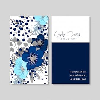 Blauwe bloemvisitekaartjes