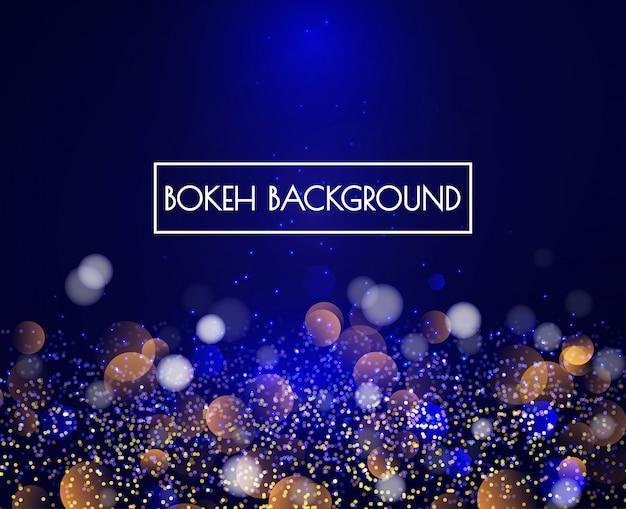 Blauwe bokeh-lichten en schitter achtergrondvector