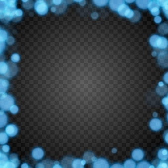Blauwe bokeh op geïsoleerde transparante achtergrond lichteffect png wazig bokeh png bokeh frame