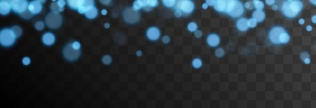 Blauwe bokeh op geïsoleerde transparante achtergrond lichteffect png wazig bokeh png