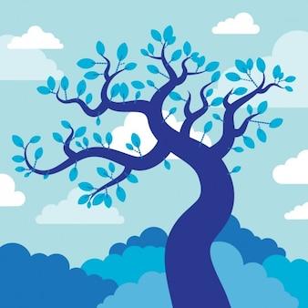 Blauwe boom illustratie