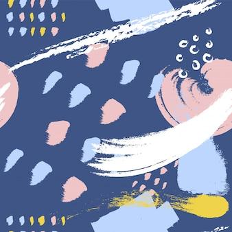 Blauwe borstel stokes naadloos patroon.