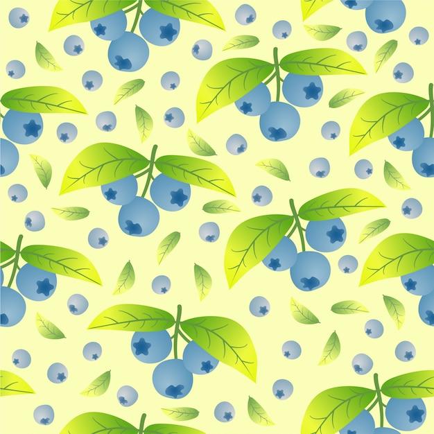 Blauwe bosbessen naadloze patroon achtergrond