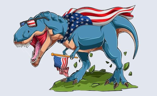 Blauwe boze dinosaurus t rex met amerikaanse vlag en zonnebril van de vs. onafhankelijkheidsdag 4 juli en herdenkingsdag