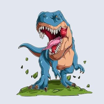Blauwe boze tyrannosaurus t rex dinosaurus monster blauwe brullende prehistorische vleesetende